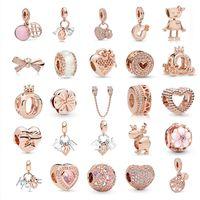 Rose Gold Series Beaded Bow Beads em forma de coração ajustam encantos originais Pandora Silver 925 Pulseira Bead DIY Mulheres Jóias