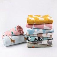 Infantil swaddling cobertura neonatal envoltório de cobertura de pano desenhos animados animal impressão de algodão banho toalha cobertores primavera e verão Muslin Stroller Coberturas Ins WMQ767