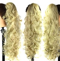"""084 Synthetic Ponytail Long Straight Hair 16"""" 22"""" Clip Ponytail Hair Extension Blonde Brown Ombre Hair Tail With Drawstring"""