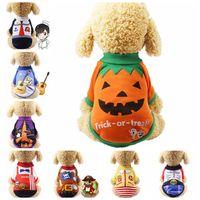 15色のフリース犬アパレルハロウィーンシャツ秋冬猫服カスタマス服昇華ペット服のおもしろTシャツパンプキン海賊A32