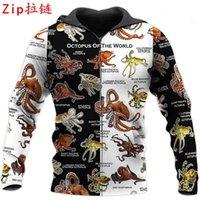 Women's Hoodies & Sweatshirts Funny Octopus Zip Jacket 3D All Over Printed Unisex Casual Autumn Winter Hip-hop Sweatshirt BXYL