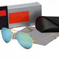 Hochwertige Ray Männer Frauen Sonnenbrille Vintage Pilot Aviator Marke Sonnenbrille Band UV400 Bans mit Box und Fall 3025