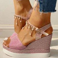 High Heels Leisure Platform Fashion Chains Summer Sandals Womens Wedges Shoes Female DIVZ