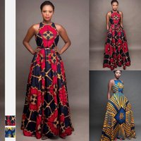 Ethnic Clothing 2021 Floral Print African Dresses For Women Pleated Long Dress Female Sleeveless Dashiki Bazin Africa Evening Party