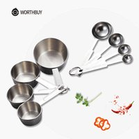 WORTHBUY Stainless Steel Measuring Cup Kitchen Spoon Scoop For Baking Tea Coffee Kichen Accessories Tool Set 210615
