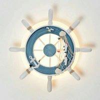 Creative LED Vägglampa Bedroom Ljus Barnrum Tecknad Vägglampa Personlighet Fartyg Rudder Decoration Lighting Restaurant Studie Bakgrundslampor
