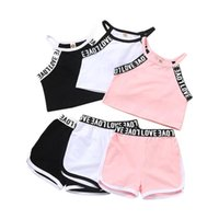 Clothing Sets 2-6 Years Baby Camisole + Shorts Letter Print Elastic Waist Sport Style Solid Cool Decoration Summer