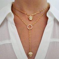 Gioielli di moda europea Gioielli Cool Animale Leopardo Jaguar Pendant Choker Y Lariat collana lunga signora