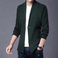Suéteres para hombre Parklees 2021 Autumn Rayado Suéter de punto Hombres Casual Slim Solid Vintage Cardigan Thin Single Button Fashion Streetwear