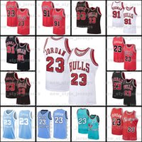 Gosse de MichaelJordonChicagoBulls Jersey 91 Dennis Scottie Rodman 33 Pippen NCAA A5 Mitchell Ness HardwoodMaillots de basketball