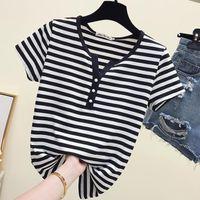 Fashion Short Sleeve T Shirt Female Women Black White Striped Tshirt Cotton 2021 Summer Tee Lady Tops Basic Plus Size Women's T-Shirt