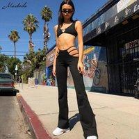 Женские брюки CAPRIS MACHEDA 2021 Женщины Черный Сексуальный Вырезать Отверстия Слим Фитнес Пот Flare Hollow Trusers Streetwear Брюки