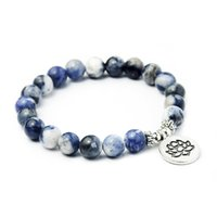 المجوهرات اليدوية بالجملة الطبيعية الأزرق حجر اليشم سوار حلقة واحدة سوار اللوتس بوذا مجوهرات مجوهرات