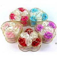 Handmade Scented Rose Soap Flor Banho Romântico Body Body Soaprose com Cesta Dourada para Valentine Wedding Christmas Presente DHE8218