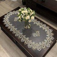 Masa Örtüsü Avrupa Oval Masa Yemek Kapağı Işlemeli Polyester İplik Çiçek Kumaş Oturma Odası Mat Dantel Modern Bez