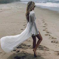 Casual Dresses White Ups for Women Tunic Cotton Lace Sexy Backless See Through Cover Up Dress Beach Smock Swimwear Coverup FW3W