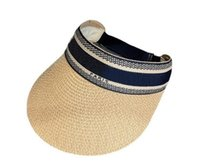 Viseras Moda Gorras de paja sin top Holiday Beach Hat Womens Wide Brim Grass Braid Cap Sun Tide Pescador sombreros