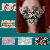 Patrón de flores de pescado adulto 3 capas máscara desechable fiesta hombres 95% eficiencia de filtración Prevención a prueba de polvo de máscaras de dibujos animados de influenza