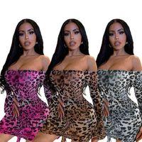 Leopard Print Ruched Drawstring 미니 드레스 여성 한 목 넥 긴 플레어 슬리브 Vestidos 어깨 obre에서 떨어지는 Lulu365