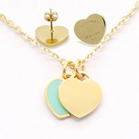 Fashion Vintage enamel Double Hearts Charms Necklace and Earring Jewelry set Luxury Women Stainless PLEASE TURN TO HEART T letters