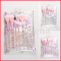 7 قطع الوردي أكريليك الترتر فرش ماكياج مجموعة المهنية مريحة العين الظل مسحوق المكياج فرشاة