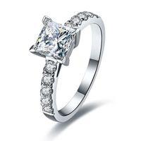 1CT Princess Pierścionki Zaręczynowe Ślub Solid Silver NSDC Symulowany pierścień Diamentowy Dla Kobiet Obietnica Biżuteria