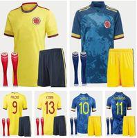 Çocuk Kitleri + Çorap 2021 Ev Futbol Jersey 21 22 James Copa Amerika Kolombiya Futbol Gömlek Falcao Camiseta de Futbol Maillot