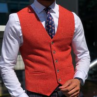 Red Wool Groom Vests For 2021 Farm Wedding Party Attire Groo...