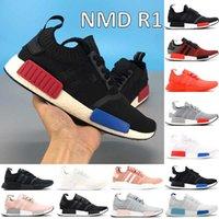 Kutusu NMD R1 Koşu Ayakkabıları Çekirdek Siyah Tek Renkli Yemyeşil Kırmızı Blanch Mavi Üçlü Beyaz Moda Erkek Kadın Sneakers ABD 5-11