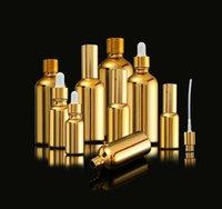 Packing Bottles golden glass essential oil cream perfume sprayer dropper bottle bouteille parfum lotion de crème d'huile essentielle UP7C