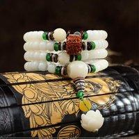 Blanc Bodhi Seed Sculpté Lotus Bracelets Collier Pour Femmes Hommes 108 Prière Mala Perles Wrap Bracelet Tibétain Bouddhisme Bijoux Perles, Strands