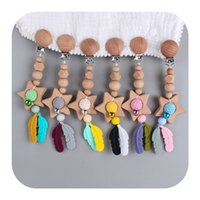 Stroller Parts & Accessories 1pc Baby Teether Siliocne Beads Feather Teething Pendant Pram Clip Hanging Toys 1528 B3