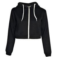 Women's Jackets 2021 Women Fashion Solid Crop Hoodie Zipper Sweatshirt Zip Cosy Hoody Jacket Basic Female Outwear 7.17