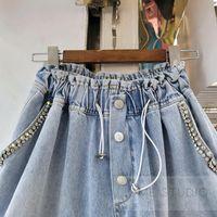 Women's Jeans Retro Denim Shorts Women 2021 Summer Exquisite Rhinestone Beaded High Waist Slimming Wide-Leg Pants