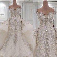 Portrait Mermaid Wedding Dresses With Overskirts Lace Ruched Sparkle Rhinstone Bridal Gowns Dubai Vestidos De Novia Custom Made