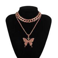 Ocded Out Out Butterfly Ожерелье Набор Cuban Link Change Choker Ожерелье Подарки для Женщин Бабочка Цепи Брин Хип-Хоп Кулон Ювелирные Изделия 1689 Q2