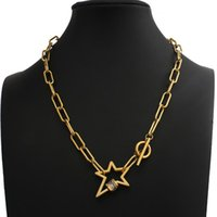 Punk Big Link Chain Gold Color Star Necklaces For Women Lock Choker Pendant Necklace 2021 Multilayer Female Chains