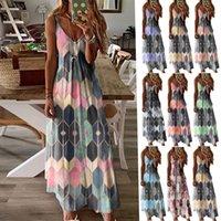 Summer casual printed dress suspender long skirt