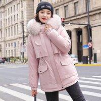 Liner de algodón caliente de moda con capucha hacia abajo Parkas Coat Chaqueta de invierno mujeres ajustable cintura piel collar chaqueta parka1
