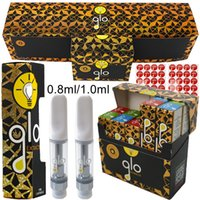 Glo Extracts Atomizers Empty Vape Cartridges Packaging 0.8ml 1ml Ceramic Coil Carts 510 Thread Glass Thick Oil Vaporizer E Cigarettes With Scratch Code