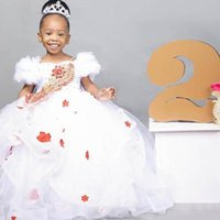 Girl's Dresses Lace Crystals Flower Girl Spaghetti Ball Gown Tulle Little Wedding Communion Pageant Gowns