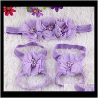 Wanderer Taufe Taufe Born Baby Girl Schuhe Stirnband Set Kleinkind Infant Erster Wanderer Blume Pearl Turnschuhe für Mädchen 5VFZH QSYR6