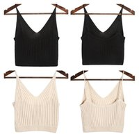 Camisoles & Tanks Sexy DeepV Slim Female Camisole Summer Hollow Out Streetwear Sleeveless Crop Top Solid Color Cotton Basic Women