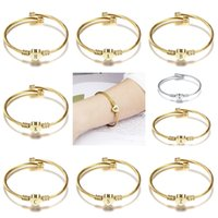 Fashion Girls Gold Silver Color Stainless Steel Heart Bracelet Bangle With 26 Letter Fashion Initial Alphabet Charms Bracelets For Women