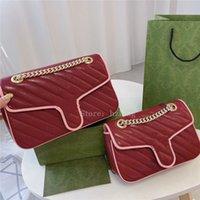 MARMONT Piccola borsa a tracolla rossa blu verde diagonale diagonale matelasse in pelle portafoglio portafoglio catene designer borse stile 443497 sacchetto di marmonte
