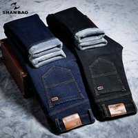 Shan Bao Winter Wine Flece Толстые теплые марки Стремясь Классический карманный молодежь мужская устроенная тонкая прямая джинсовая джинсы