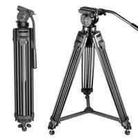 Tripods Professional Aluminum Alloy Camera Tripod Portable Travel Video 360 Degree Fluid Drag Head For Canon Dslr