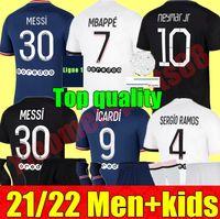 "Pariser Messi Soccer Jerseys 21 22 Erwachsene Frauen Männer + Kinder Kit 2021 2022 PSG ""Home Away 3rd Sergio Ramos Mbappe K.Navas Donnarumma Torhüter Fußball Hemd einstellen Uniformen"