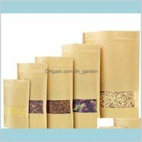 Packing Office School Business Industrial 14 Sizes Food Moisture Barrier Bags Packaging Sealing Brown Kraft Paper Doypack Pouch With C