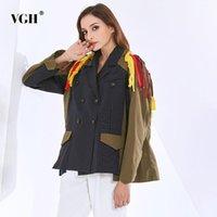 VGH Streetwear Hit Color Giacca Colore per le donne Risvolto a maniche lunghe Patchwork Tassel Casual Giacche Femmina Fashion New Abbigliamento Primavera